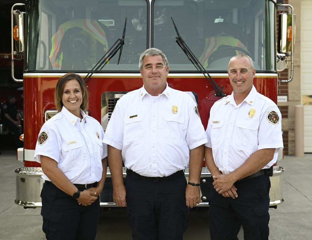 2nd Assistant Chief Missy Visser, 1st Assistant Chief Aaron Wilfahrt, Fire Chief Paul Macho