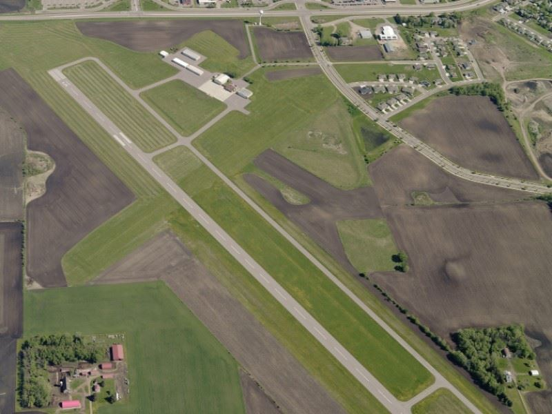 New Ulm Municipal Airport Runway overhead view