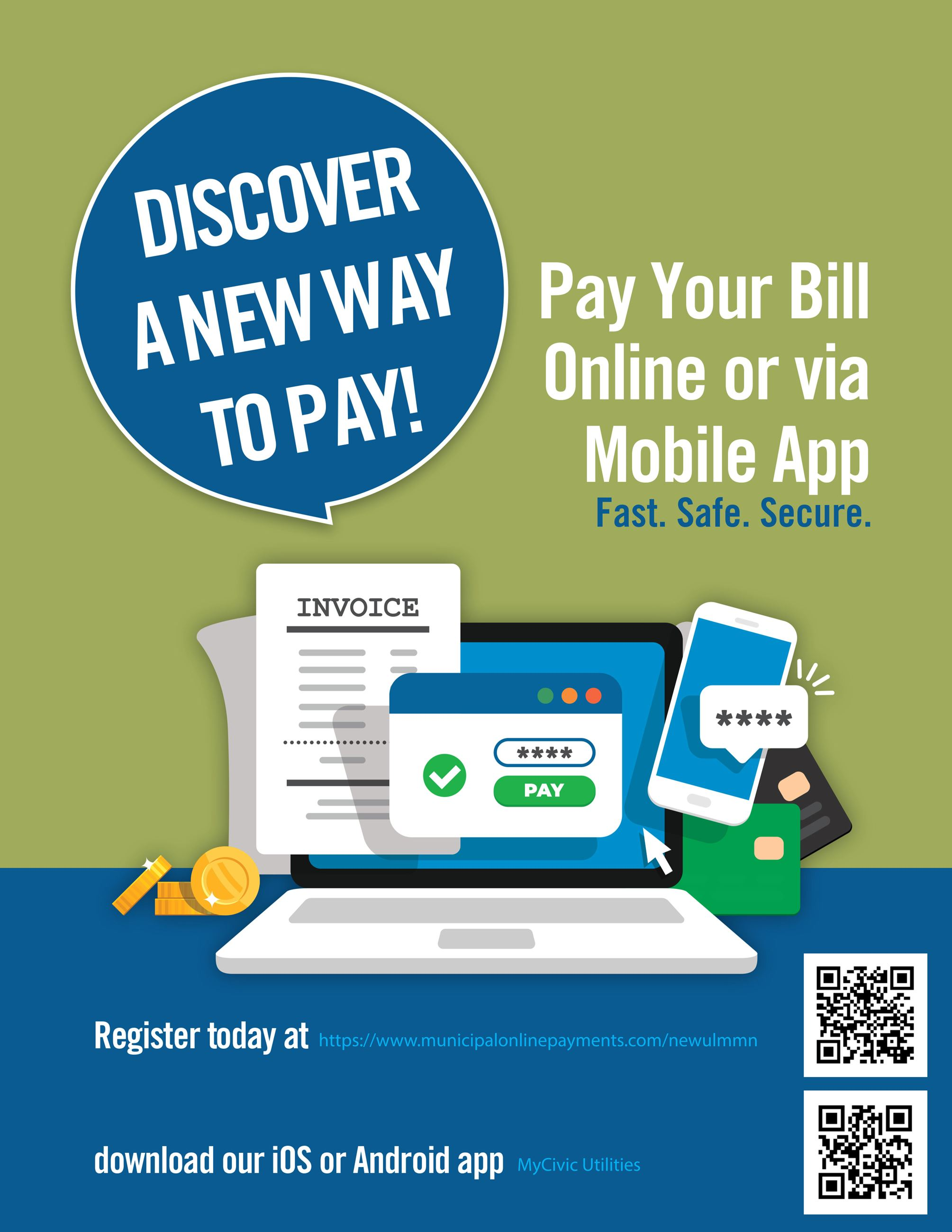 Pay Your Bill Online or Via Mobile App
